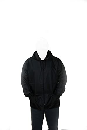 Mens Light Weight Hooded Shower Proof Outdoor Workwear Mac Rain Coat Kagoul  Kagool Cagoule - Black f6a0f3723a