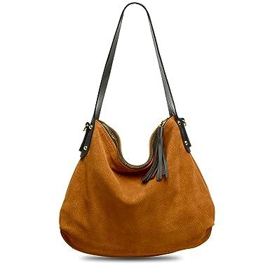 CASPAR TL580 Damen Handtasche aus hochwertigem Wildleder, Farbe:rosa CASPAR Fashion