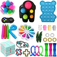 Tianlun Sensory Fidget leksaker set, 30 st push pop autism speciella dimpel sensoriska leksaker set f?r barn vuxna…