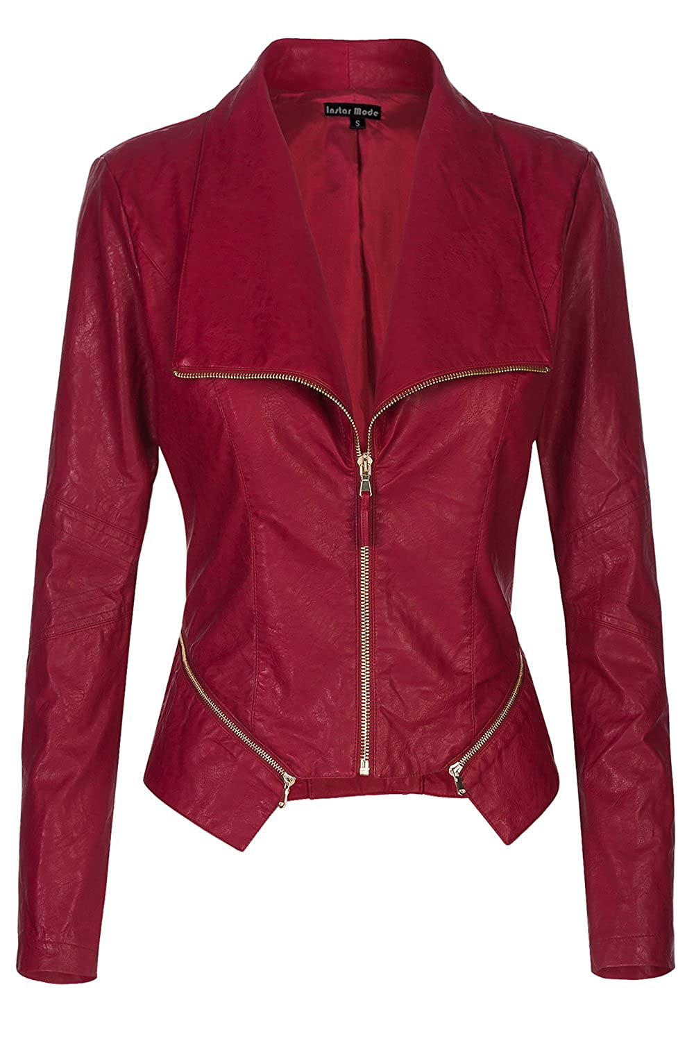 Jk61012 Burgundy Instar Mode Women's Long Sleeve Zipper Closure Moto Biker Faux Leather Jacket