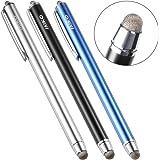 MEKO iPadタッチペン タブレット スマートフォン スタイラスペン iPhone android ツムツム 導電繊維 マイクロニット6mm 3本+交換ペン先3個+ストラップ付き(ブルー/ブラック/シルバー)