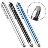 MEKO タッチペン タブレット スマートフォン スタイラスペン iPad iPhone android マイクロニット6mm 3本+交換ペン先3個+ストラップ付き(ブルー/ブラック/シルバー)