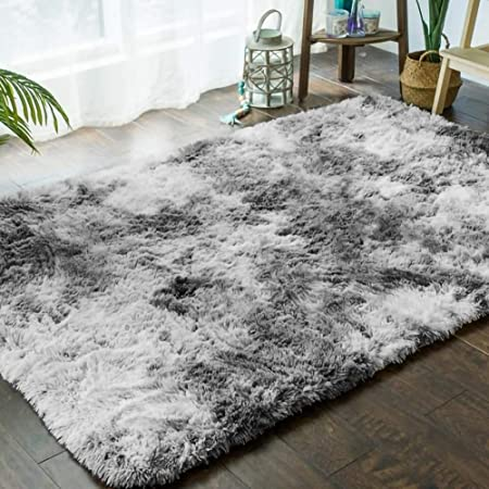 Ultra Doux Interieur Tapis Moelleux Shaggy Polyester Gris Clair