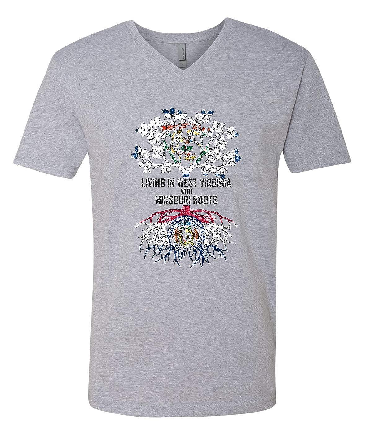 Tenacitee Mens Living in West Virginia Missouri Roots T-Shirt