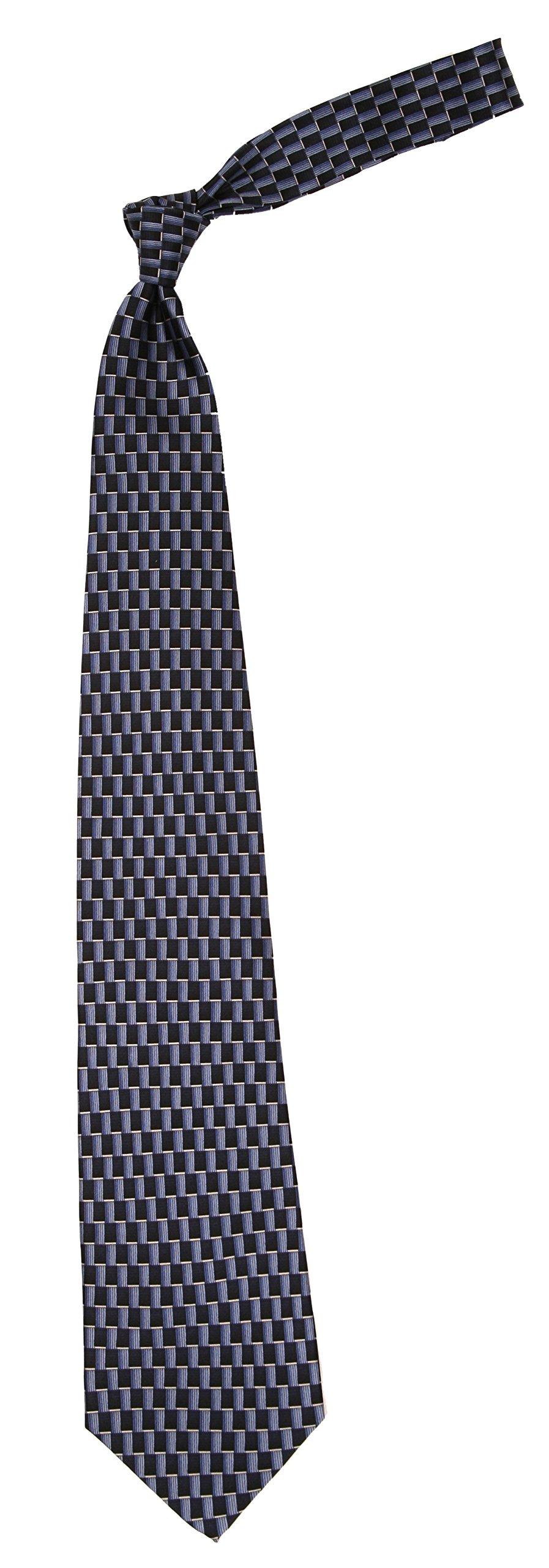 Love Lakeside-Men's 100% Silk, X-Long, Extra Long, Big and Tall Tie Navy Blue Classic