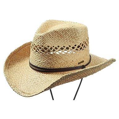 les plus récents style le plus récent Acheter Authentic Stetson Chapeau Larimore Cowboy Femme/Homme - de Paille Raphia en rodéo  avec jugulaire, Bandeau Cuir Printemps-ete