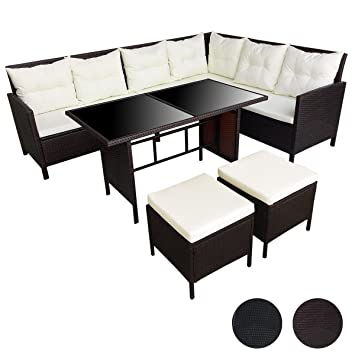 SVITA Poly Rattan Ecksofa Rattan-Lounge Esstisch Gartenmöbel-Set ...