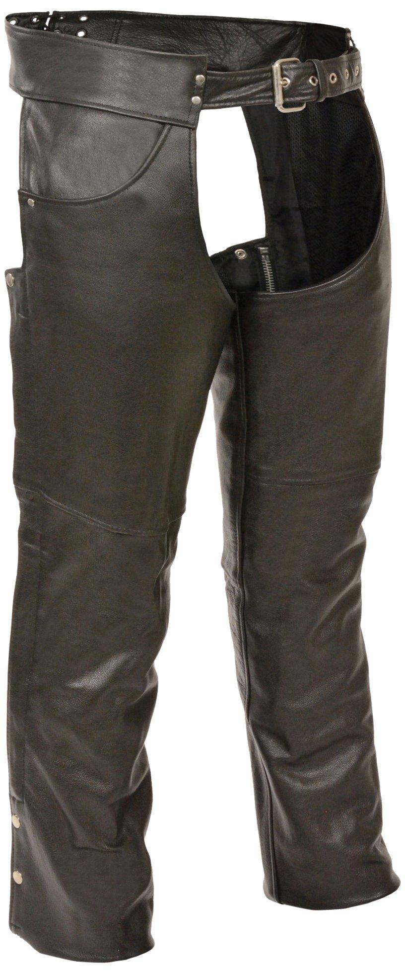 Milwaukee Men's 1.2mm Premium Leather Plain Lined Chaps (Black, XXX-Small)