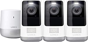 Lorex Home Hub 32GB with Three 2K QHD Wire-Free Battery-Operated Indoor/Outdoor Security Cameras