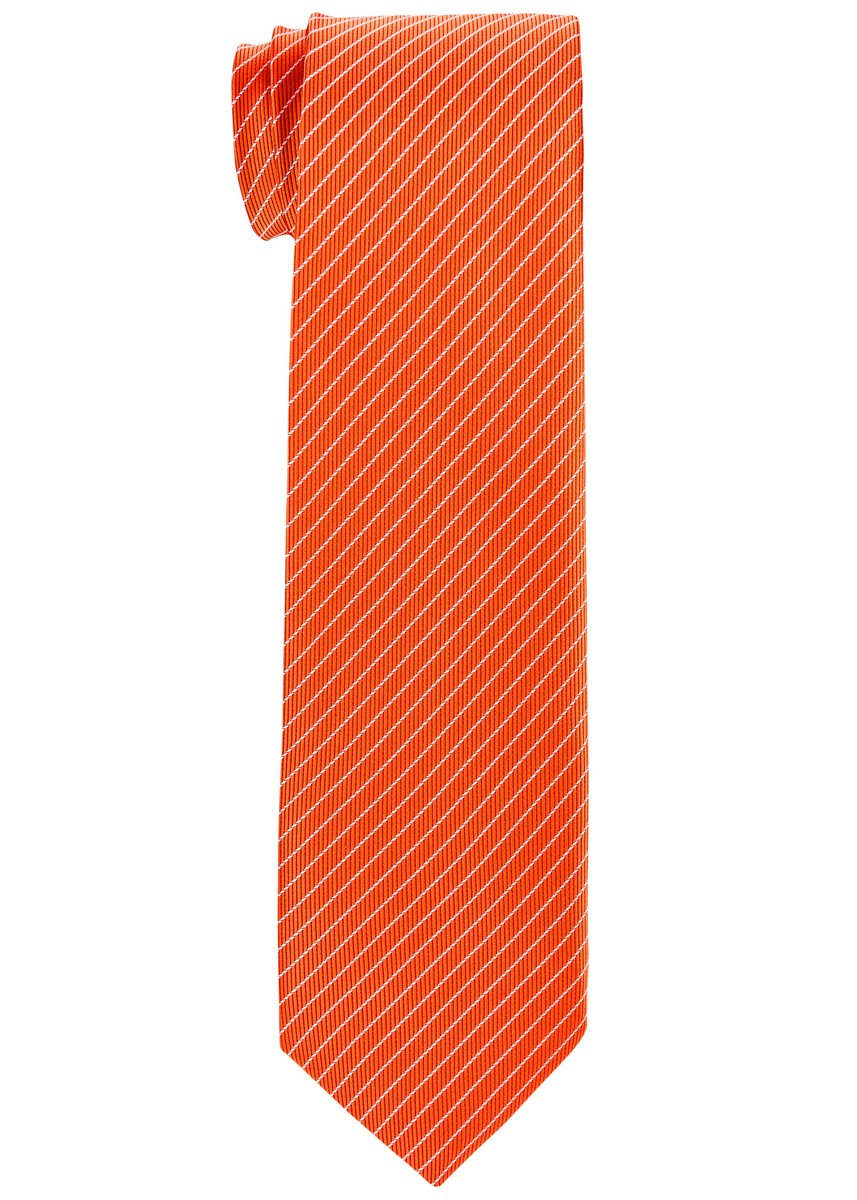 Retreez Stylish Pin Stripes Woven Boy's Tie (8-10 years) - Orange with White