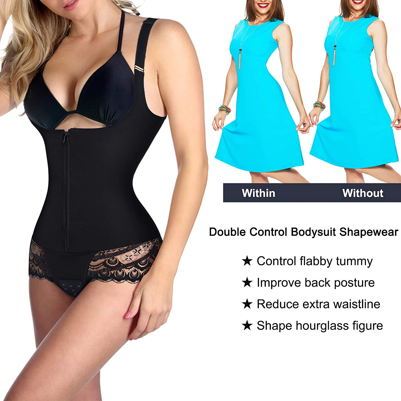 897360e4f5d Nebility Women Latex Waist Trainer Bodysuit Tummy Slim Body Shaper Open  Bust Girdle Shapewear at Amazon Women s Clothing store