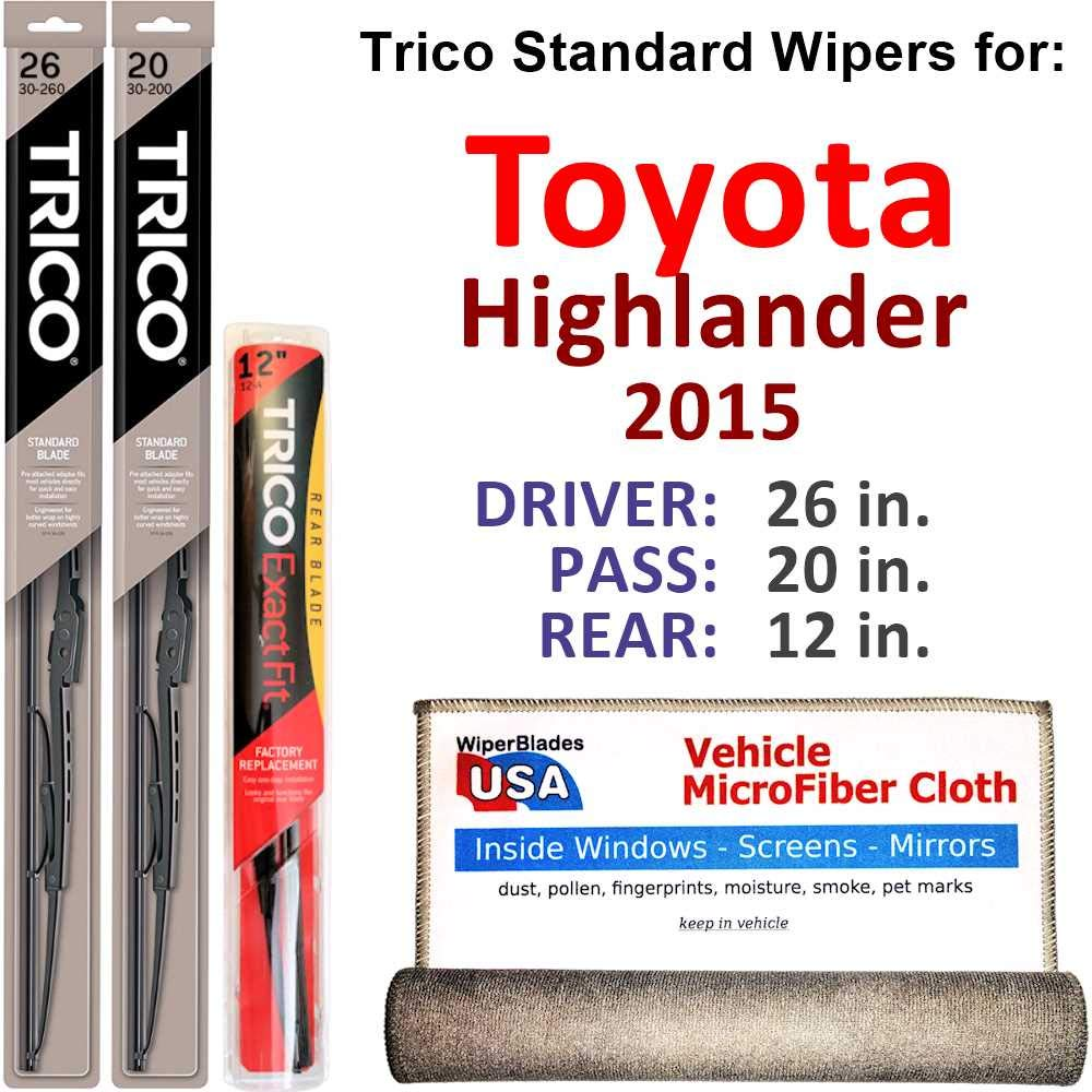 Amazon.com: Wiper Blades for 2015 Toyota Highlander Driver & Passenger Trico Steel Wipers Set of 2 Bundled with Bonus MicroFiber Interior Car Cloth: ...