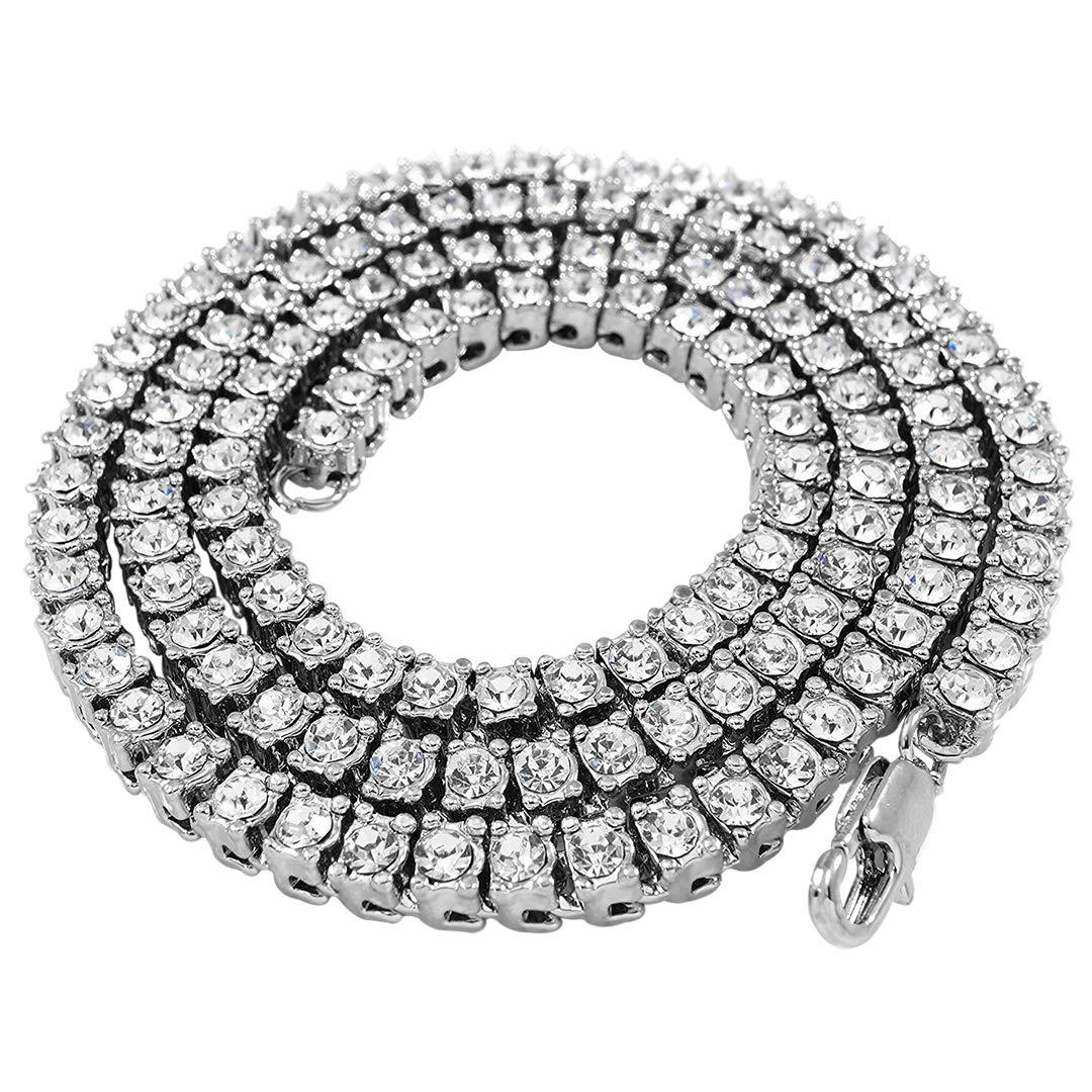 14K Weißgold plattiert, vereist, 1-reihige Tennis-Halskette, 51, 61,76, 91cm Niv's Bling N1ROWS-L18