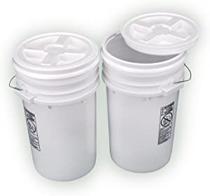 Bucket Kit, Two White 6-Gallon Buckets with White Gamma Seal Lids