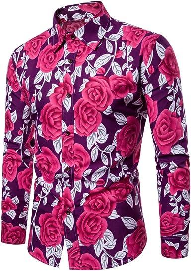 BaZhaHei, Polo de Hombre, Blusa Estampada Flor de la Moda del Hombre Tops Camisetas de Manga Larga Casual Tops para Hombre Camisas de Clásico de la Moda Manga Larga Estampada de Hombre: