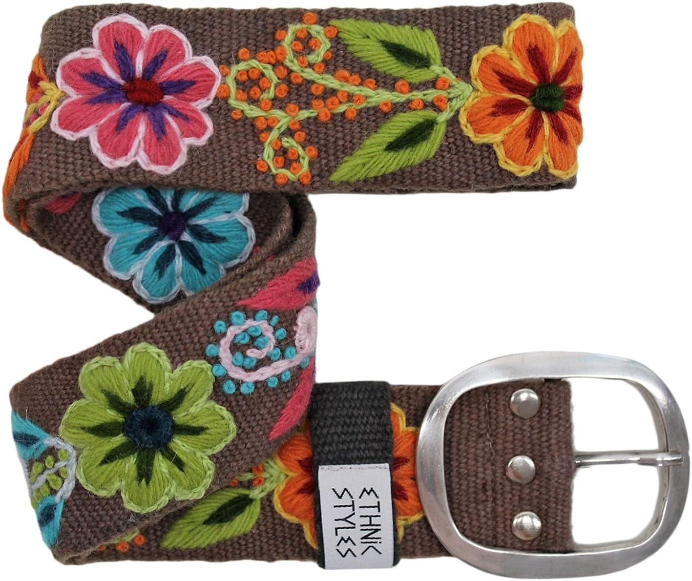 ethnischer Boho-Gürtel peruanisch,... Bestickter Gürtel Blumen bunt BLAU
