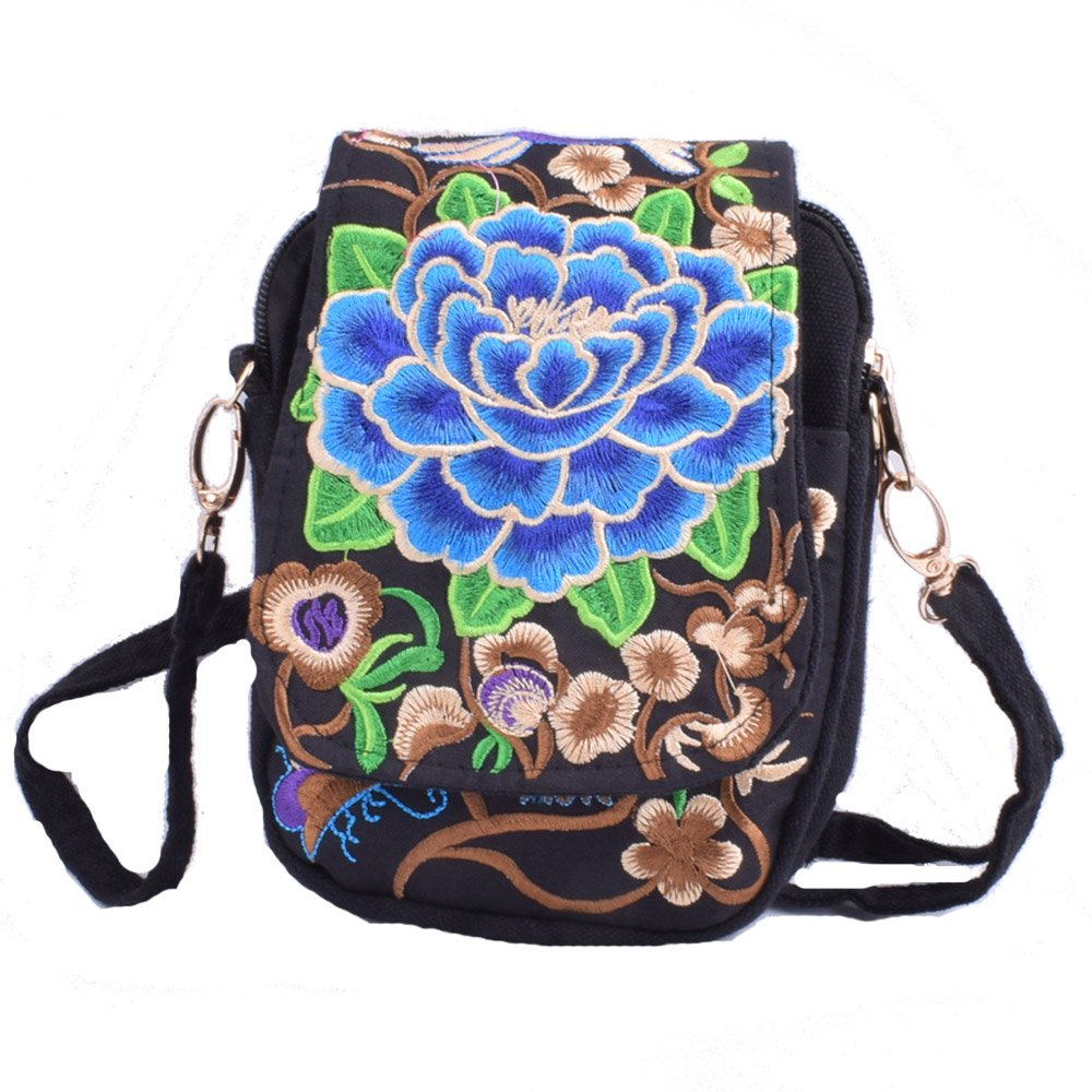 Vintage Embroidery 6.5 Women Messenger Bag Canvas Shoulder Small Phone Coins Purse Boho Bags