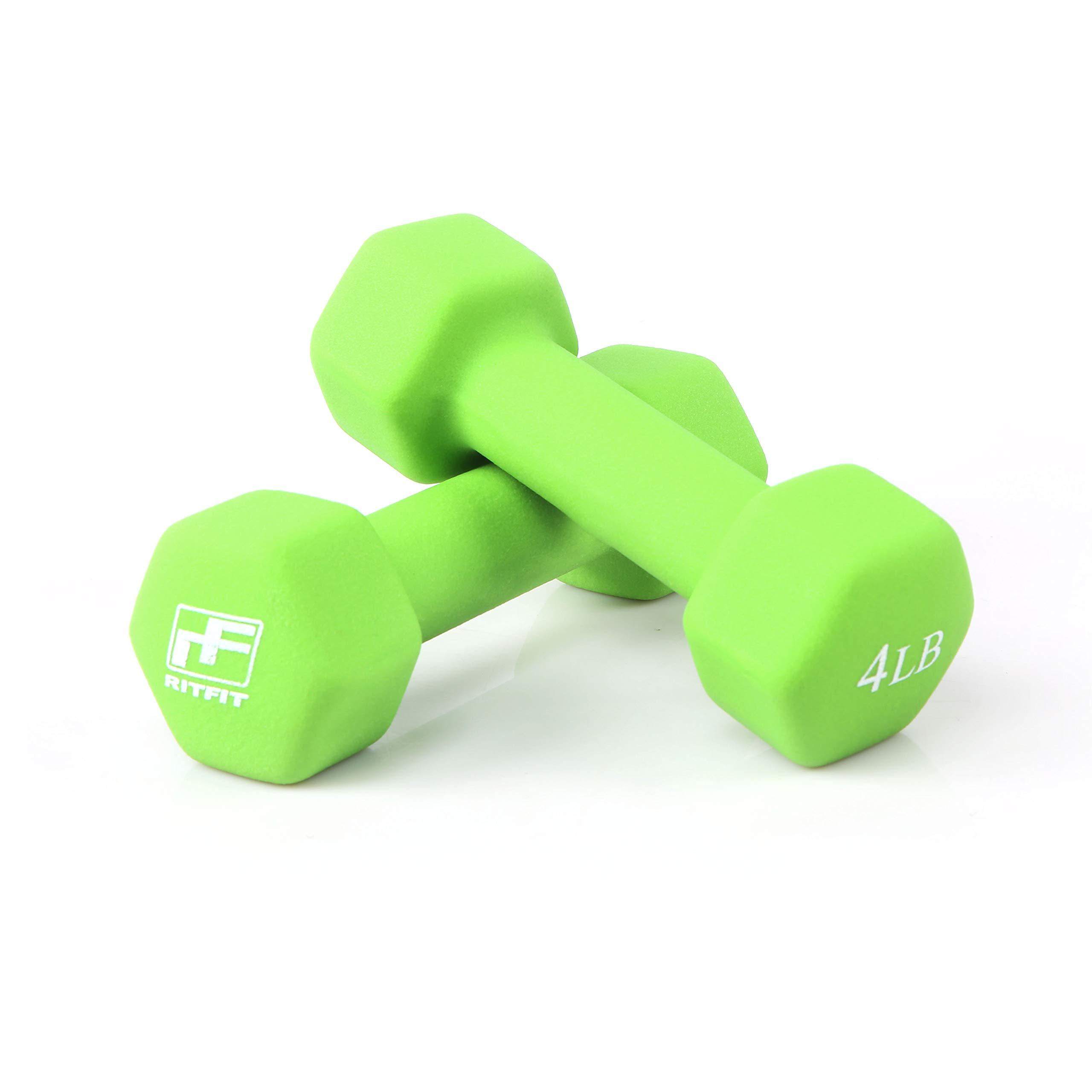 RitFit Set of Two Neoprene Dumbbells Coated for Non-Slip Grip, 1 lb-20 lb (4 Pound(Apple Green))