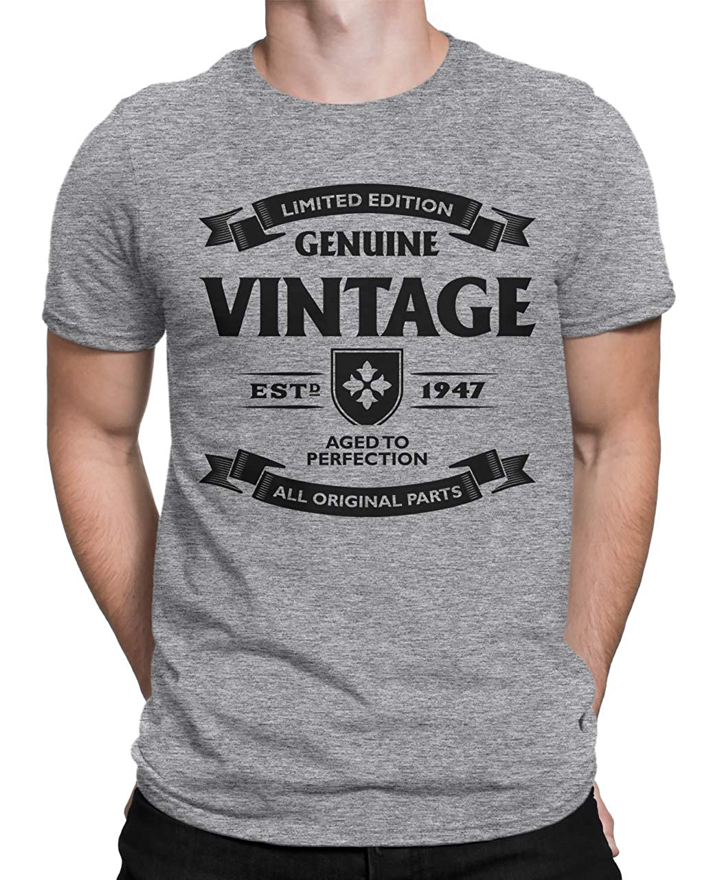 Tenacitee Mens Aged to Perfection 1947 T-Shirt
