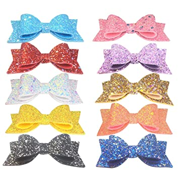 "Multi Coloured Glitter Hair Bows Various Designs 2.8/"" with clips"