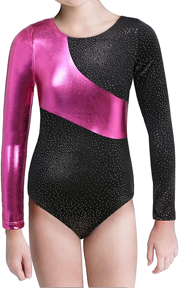 Goodstoworld Sleeveless//Long Sleeve Shiny Cute Printed Ballet Gymnastics Leotard For Girls Size 3-8 Years