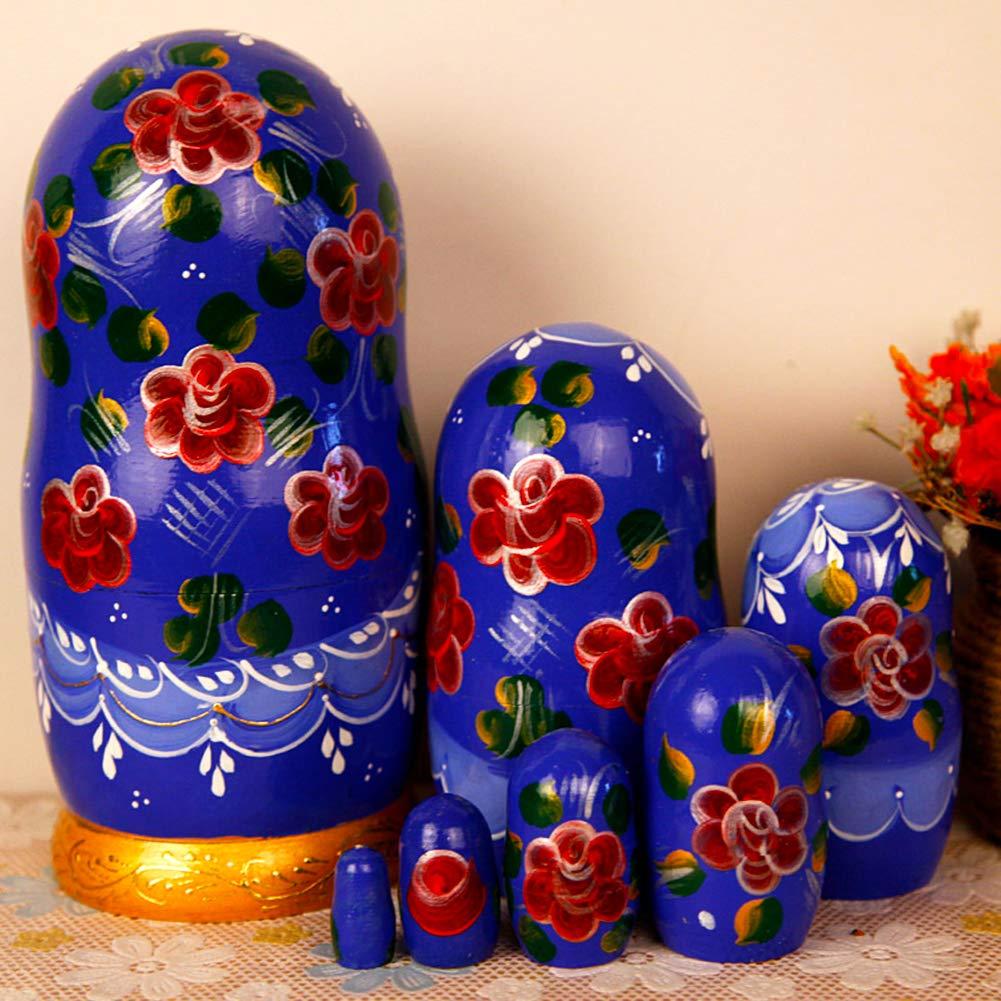 Moonmo 7pcs Beautiful Flower Handmade Wooden Russia Nesting Dolls Gift Russian Nesting Wishing Dolls Matryoshka Traditional by Moonmo (Image #2)