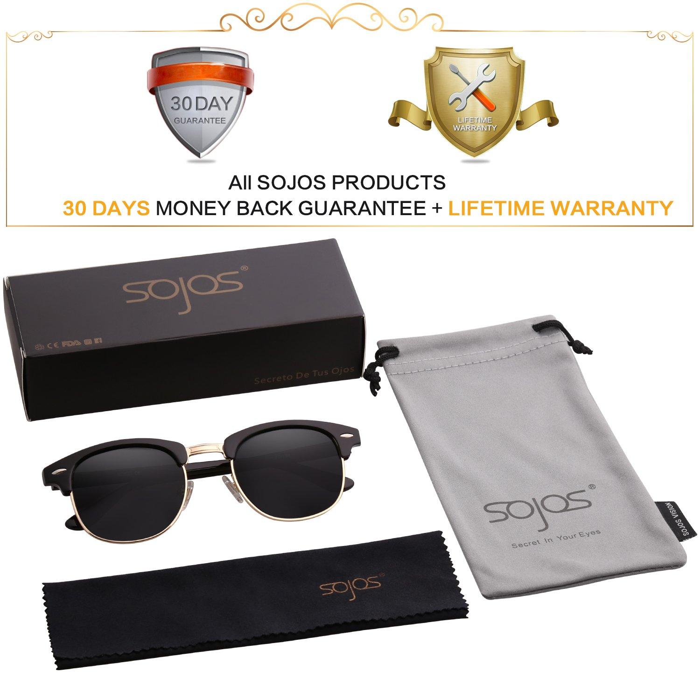05e48d15a0 SOJOS Clubmaster Horn-rimmed Semi Rimless Polarized Sunglasses SJ5018 with  Black Frame Grey Polarized Lens - SJ5018C01   Sunglasses   Clothing
