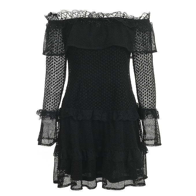 fd8cd8a6fb4 Image Unavailable. Image not available for. Color  private-space-Aurelie Off  Shoulder Ruffle Lace Dress Women ...