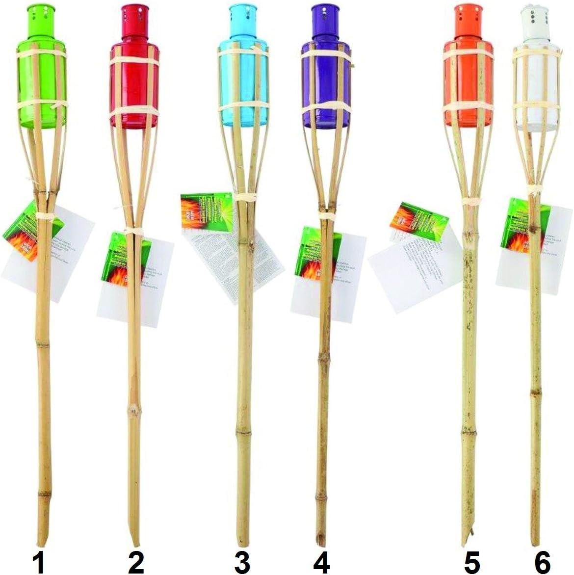 776 Lot de 6 Torche de jardin Bambou 60 cm Mod 5 Orange Decoration Lampe Huile Insecte
