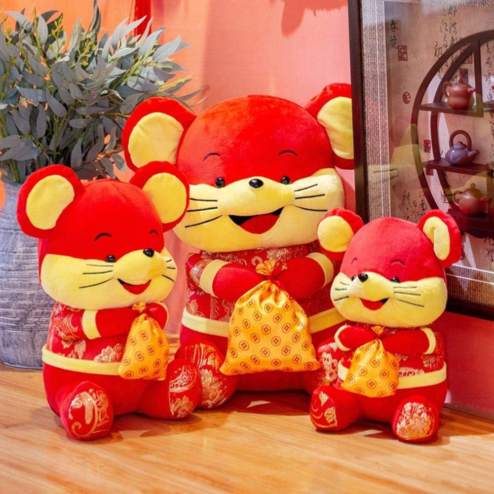 PIONIN Ornement Rat Rouge 2020 ann/ée du Rat Chinois Peluche Rat Rouge Mascotte Rouge