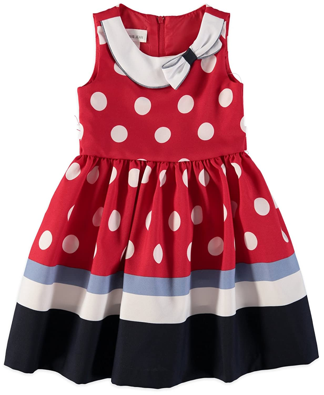 2515b275ac62 Short-sleeved navy nautical dress with sailor collar, white decorative  buttons and white bow on the front, soft pleats at empire waist and white  border ...