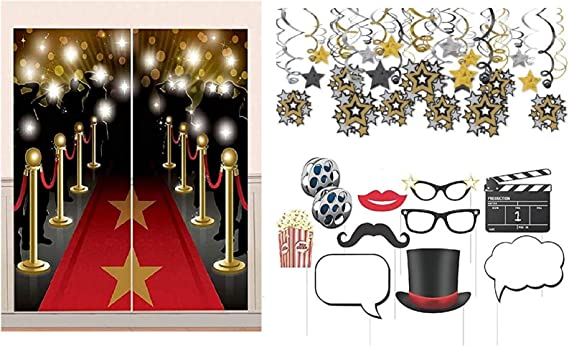 Red Carpet Hollywood Wall Decorations 2 Room Rolls 1 Border Roll 1 Scene Setter