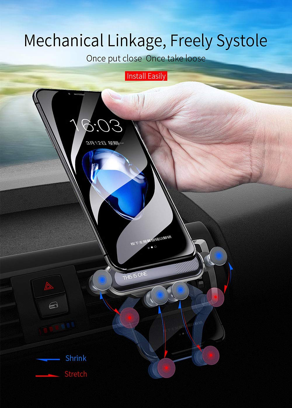 Galaxy S10 7//7 Plus S9 Qidan Vents mounts car Phone Holder Vehicle-Mounted Mobile Scaffold Compatible for iPhone Xs//Xs Max//XR//X Black and More S10+ S9 8//8 Plus