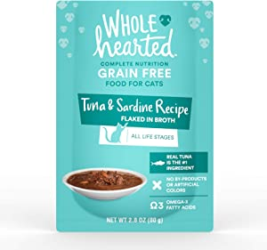 WholeHearted Grain Free Tuna & Sardine Recipe Flaked in Broth Wet Cat Food, 2.8 oz., Case of 12, 12 X 2.8 OZ