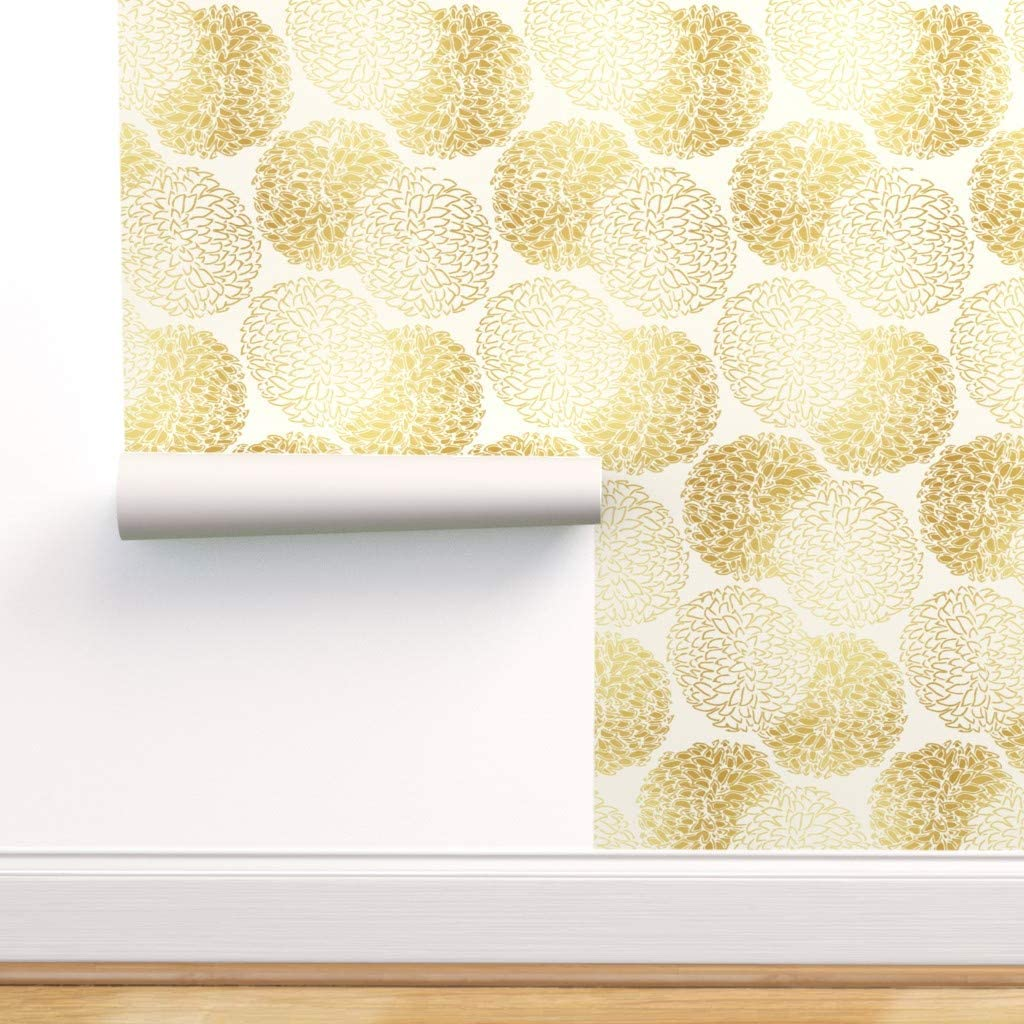 Spoonflower Peel And Stick Removable Wallpaper Golden Floral
