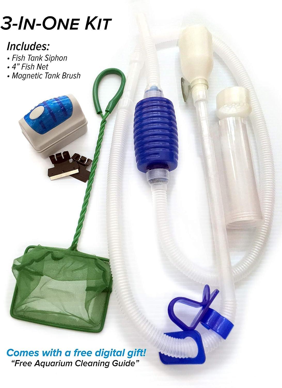 Friendly Fish Co. 3-in-1 Fish Tank/Aquarium Cleaner Starter Kit w/Siphon, Fish Net & Magnet Brush & Algae Scraper BPA Free Aquarium Cleaning Tools