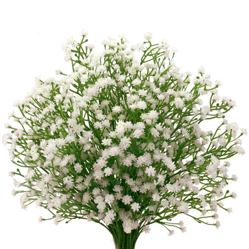 Houda 9Pcs Artificial Fake Baby Breath Flowers Gypsophila Plants Bouquets for Wedding Home DIY Decor (White)