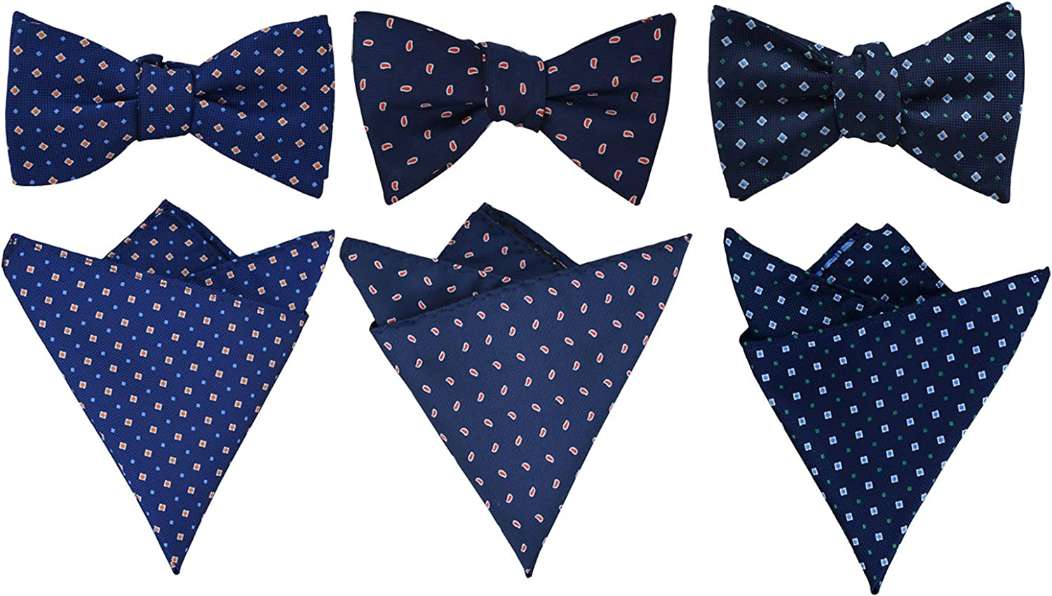 SYAYA 3pcs mens jacquard woven self bow ties for men and pocket square set Wedding or Tuxedo MLD09