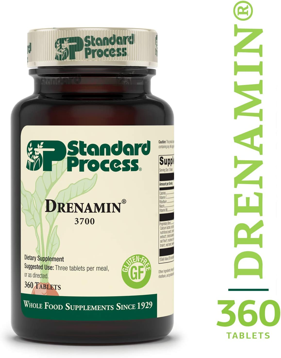 Standard Process – Drenamin – Supports Immune System Function, Energy Production, and Balanced Mood, Source of Antioxidant Vitamin C, Riboflavin, Niacin, and Vitamin B6, Gluten Free – 360 Tablets
