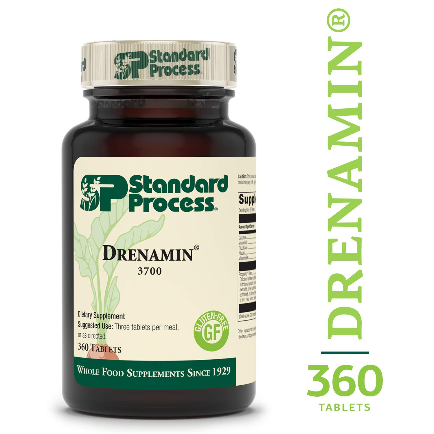 Standard Process - Drenamin - Supports Immune System Function, Energy Production, and Balanced Mood, Source of Antioxidant Vitamin C, Riboflavin, Niacin, and Vitamin B6, Gluten Free - 360 Tablets by Standard Process