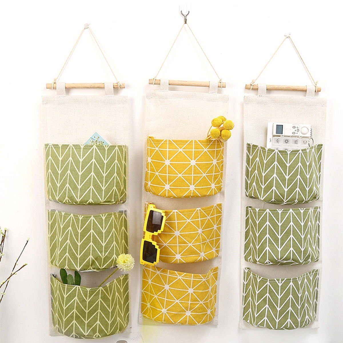 yunita_1106stores 3 Grids Wall Hanging Storage Bag Organizer Toys Container Decor Pocket by yunita_1106stores (Image #1)