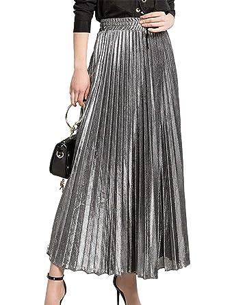 Faldas Plisadas para Mujer Alta Cintura Metálica Brillante Línea A ...