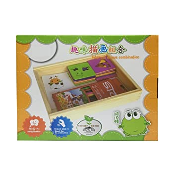 LittleHamlet Wooden Drawing Stencils Art Set for Kids with 30 Shapes Awesome Kit & Lightweight Travel Activity for Children with Wooden Box