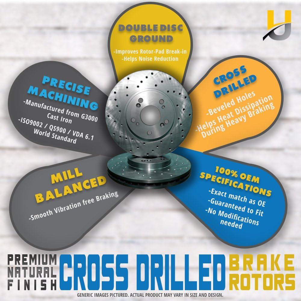 -Combo Brake Kit 2 Cross Drilled Great-Life Premium Disc Brake Rotors 5lug Front Kit 4 Semi-Metallic Pads