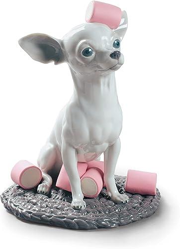 LLADR Chihuahua with Marshmallows Dog Figurine. Porcelain Chihuahua Dog Figure.