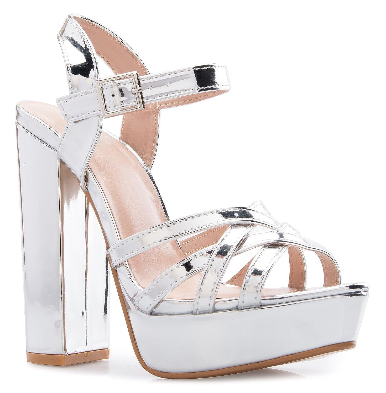 OLIVIA K Women's Platform Ankle Strap High Heel - Peep Toe Sandal Pump - Formal Chunky Dress Heel