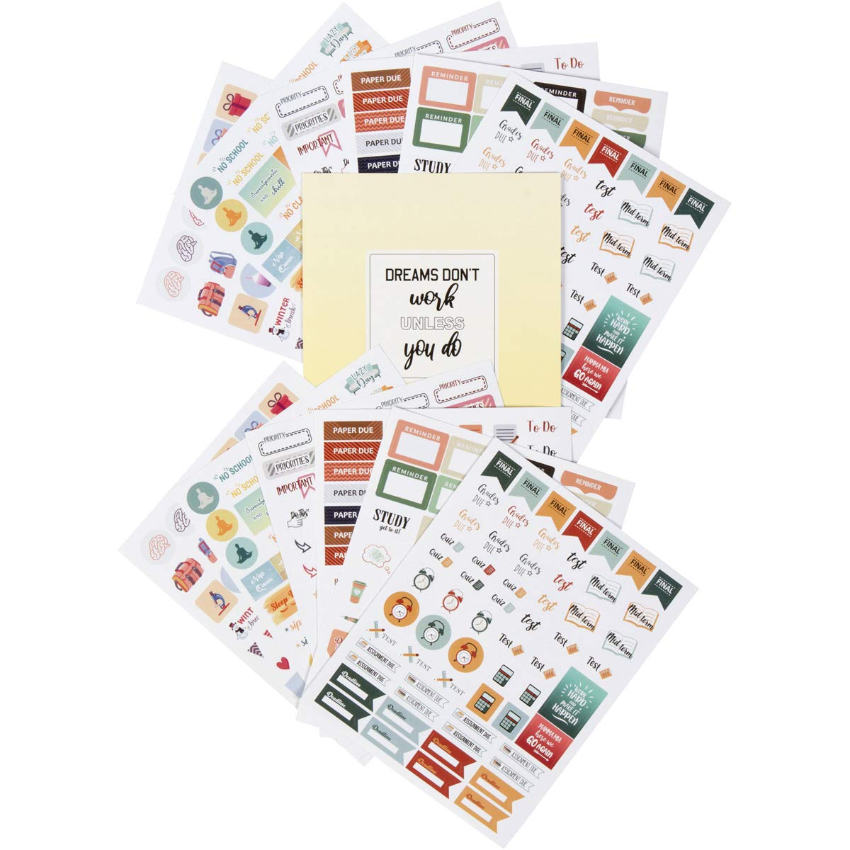 Student Planner Stickers – School and College Planner Stickers – Set 12 Sheets