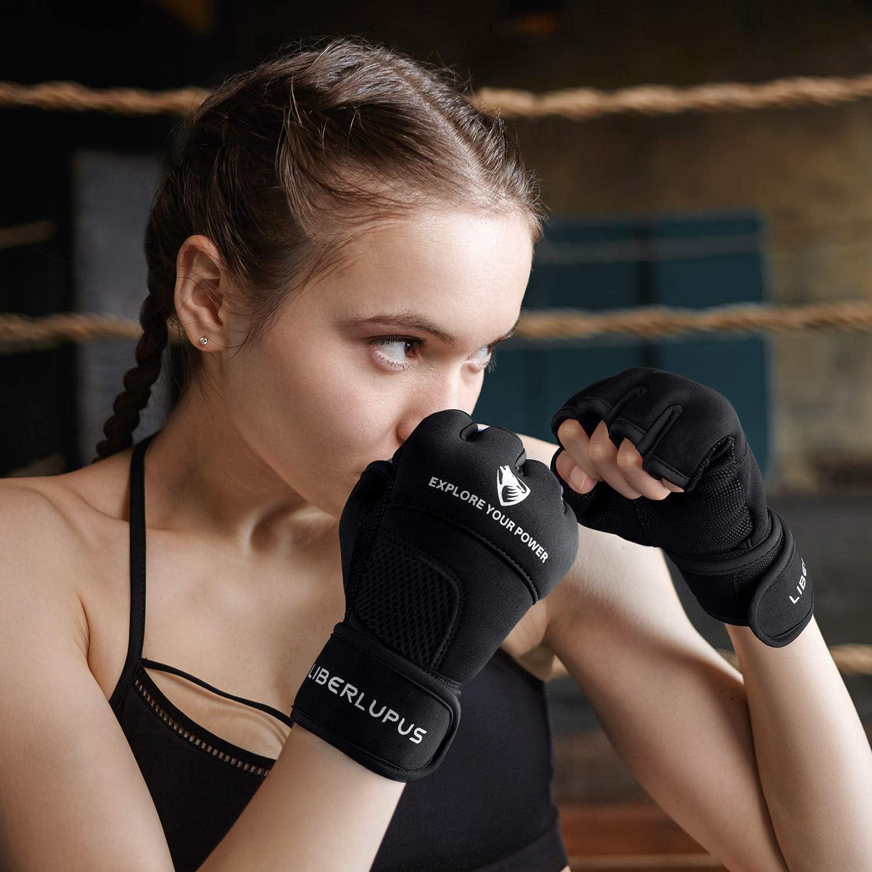 Liberlupus Gel Boxing MMA Kickboxing Cross Training Handwrap Gloves for Men /& Women