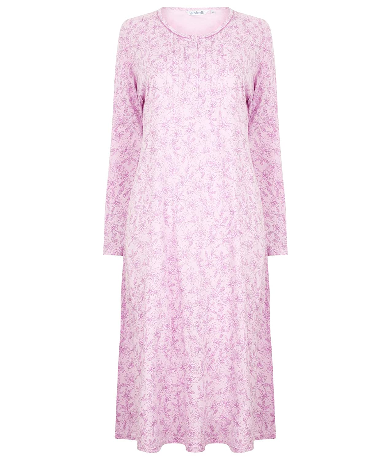 Slenderella Ladies Floral Meadow Jersey Cotton Nightdress Long Sleeved Nightie (3 Colours)