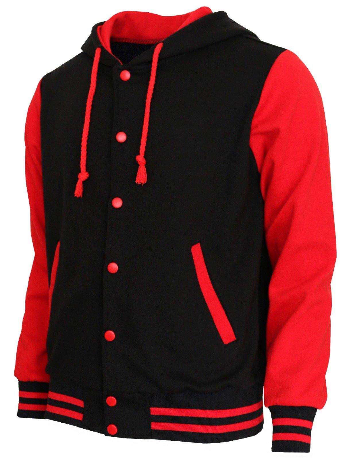 BCPOLO Hoodie Baseball Jacket Varsity Baseball Jacket Cotton Letterman Jacket Black-Red-S by BCPOLO